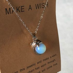 Dolphin with Blue Marble Silver-Tone Necklace